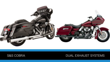 S&Sとコブラのトゥルーデュアル独立管 エキゾーストマフラー ツーリングモデル用P419