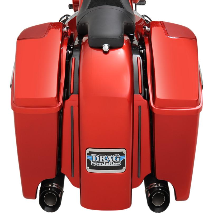ドラッグ製 エクステンド 純正スタイル サドルバッグ 取付イメージ レッド デモバイク 真後