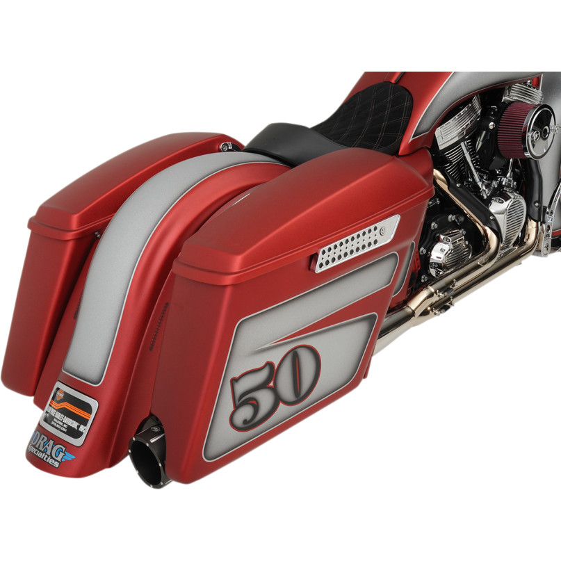 ドラッグ製 エクステンド 純正スタイル サドルバッグ 取付イメージ レッド デモバイク 右側